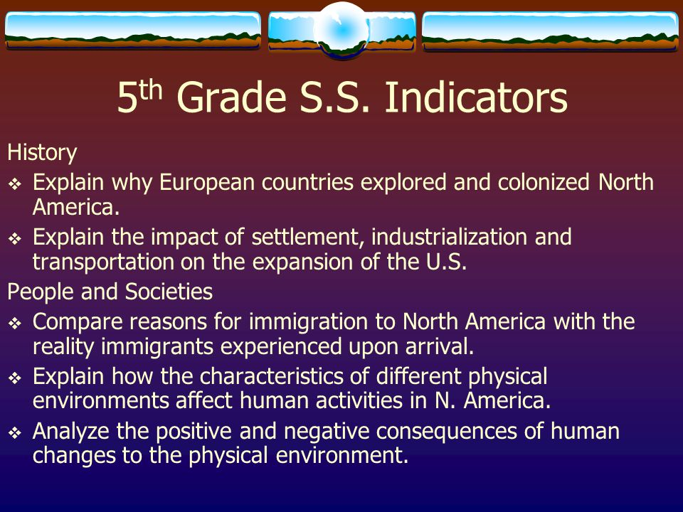 5th Grade S.S. Indicators History