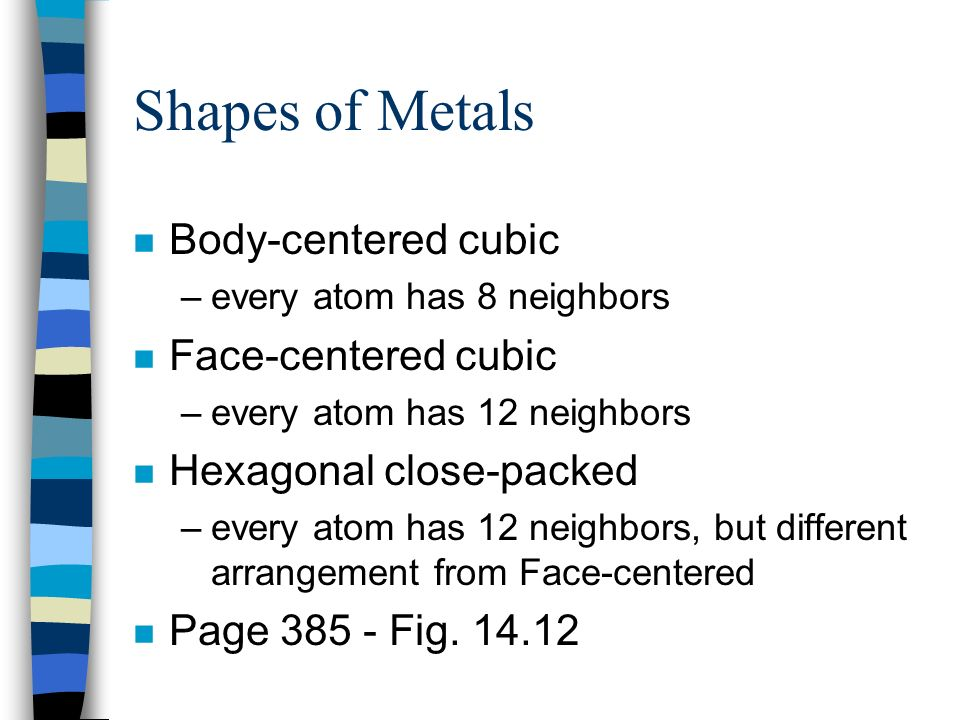 Shapes of Metals Body-centered cubic Face-centered cubic