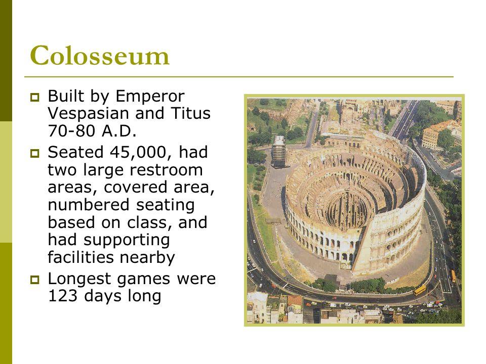 Colosseum Built by Emperor Vespasian and Titus 70-80 A.D.