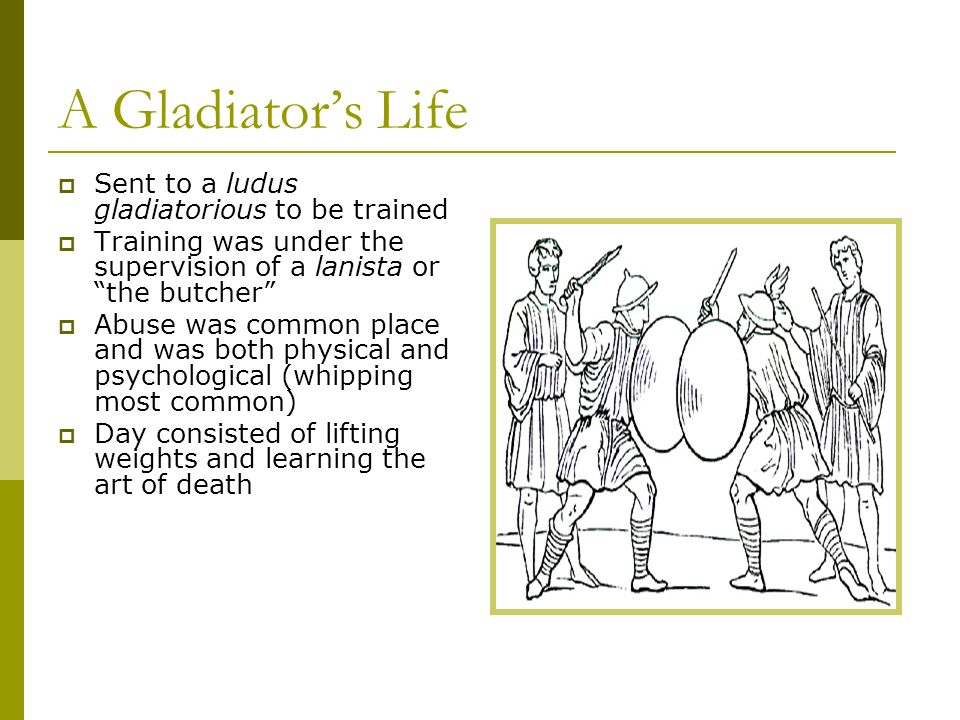 A Gladiator's Life Sent to a ludus gladiatorious to be trained