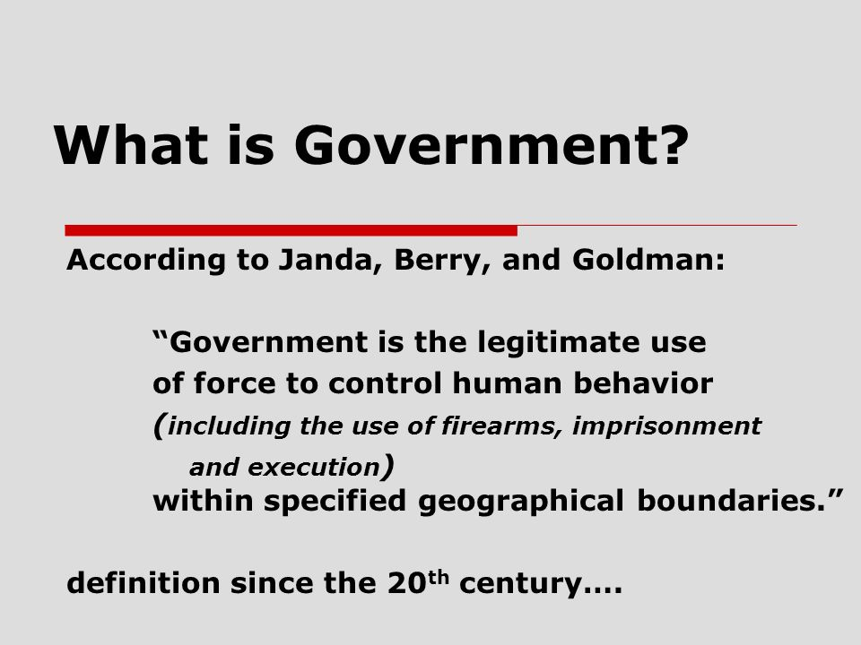 What is Government According to Janda, Berry, and Goldman: