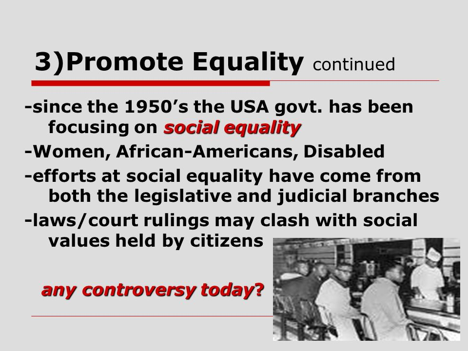 3)Promote Equality continued