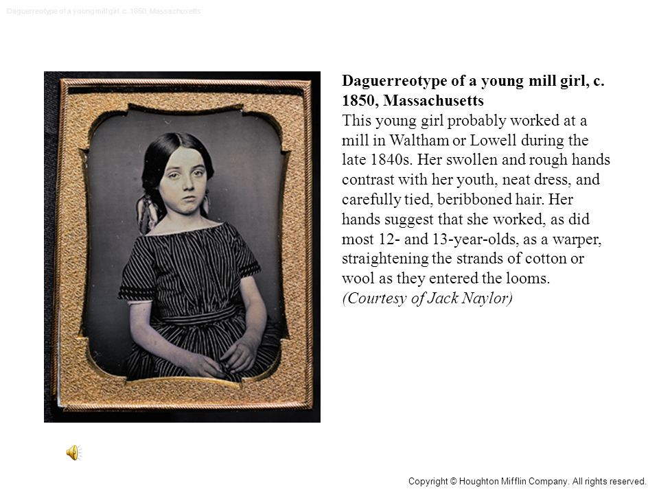 Daguerreotype of a young mill girl, c. 1850, Massachusetts