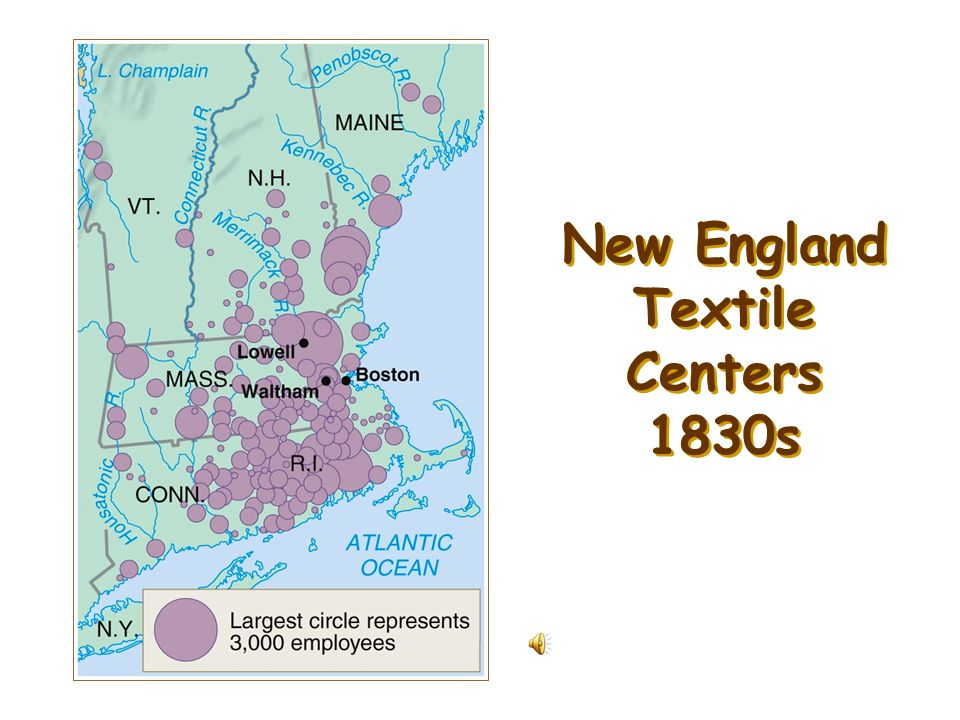 New England Textile Centers 1830s