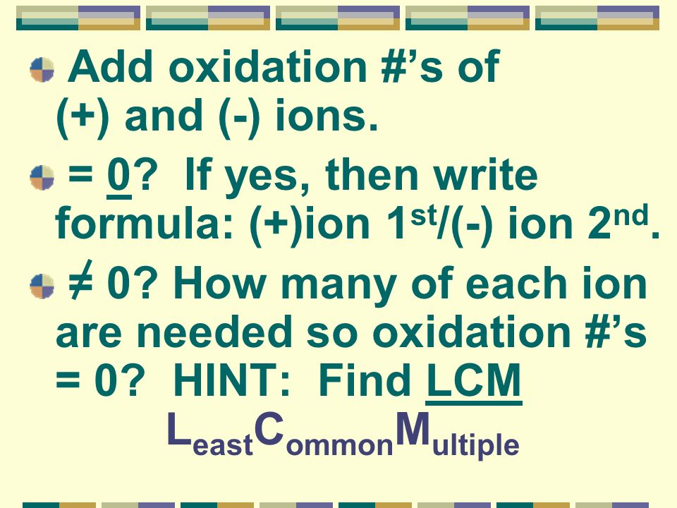 Add oxidation #'s of (+) and (-) ions.