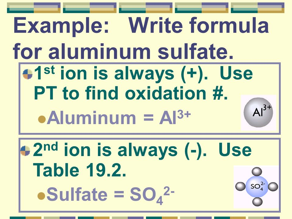 Example: Write formula for aluminum sulfate.