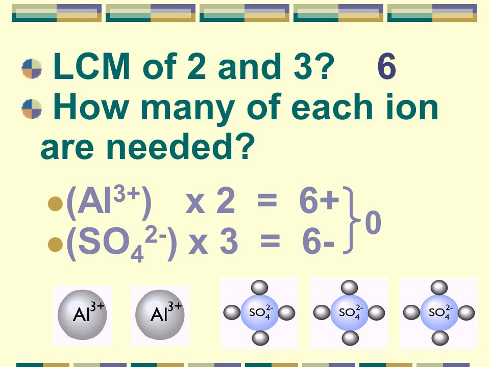 LCM of 2 and 3 6 How many of each ion are needed (Al3+) x 2 = 6+ (SO42-) x 3 = 6-