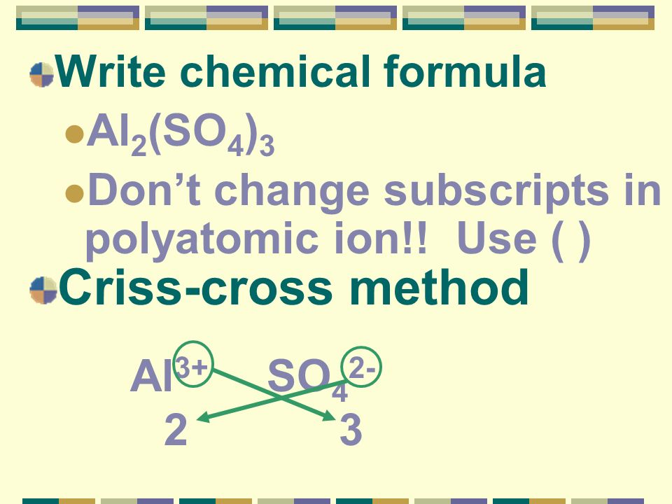 Criss-cross method Write chemical formula Al2(SO4)3