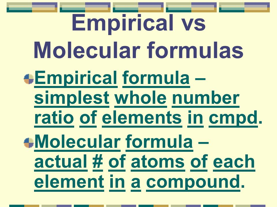 Empirical vs Molecular formulas