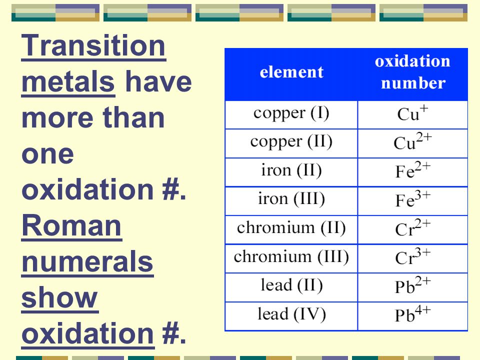 Transition metals have more than one oxidation #