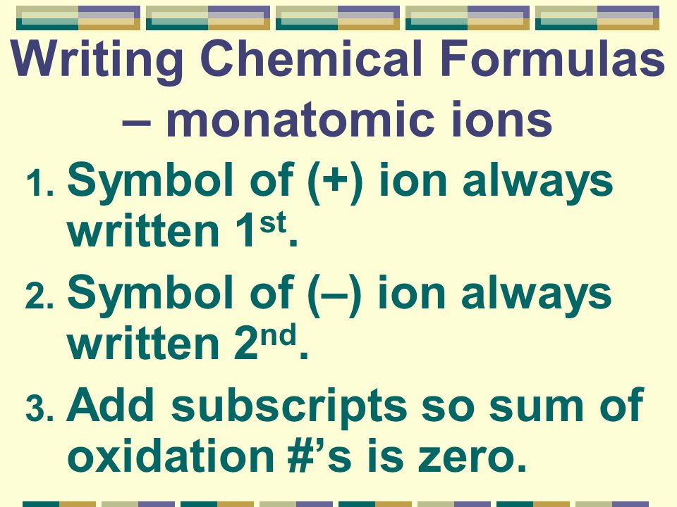 Writing Chemical Formulas – monatomic ions