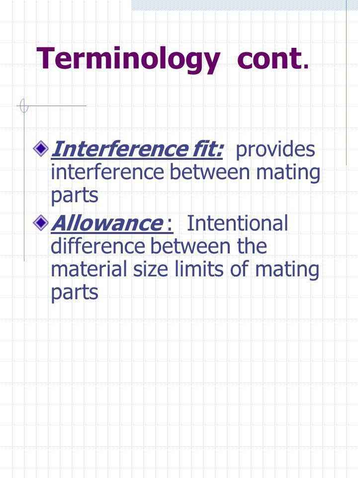 Terminology cont. Interference fit: provides interference between mating parts.