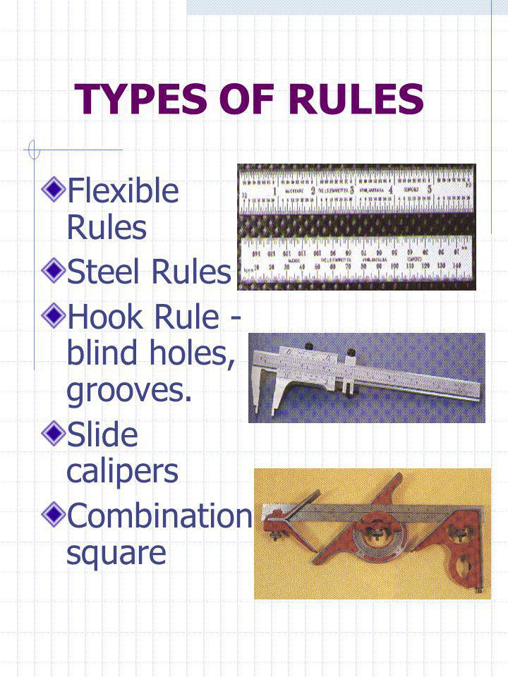 TYPES OF RULES Flexible Rules Steel Rules