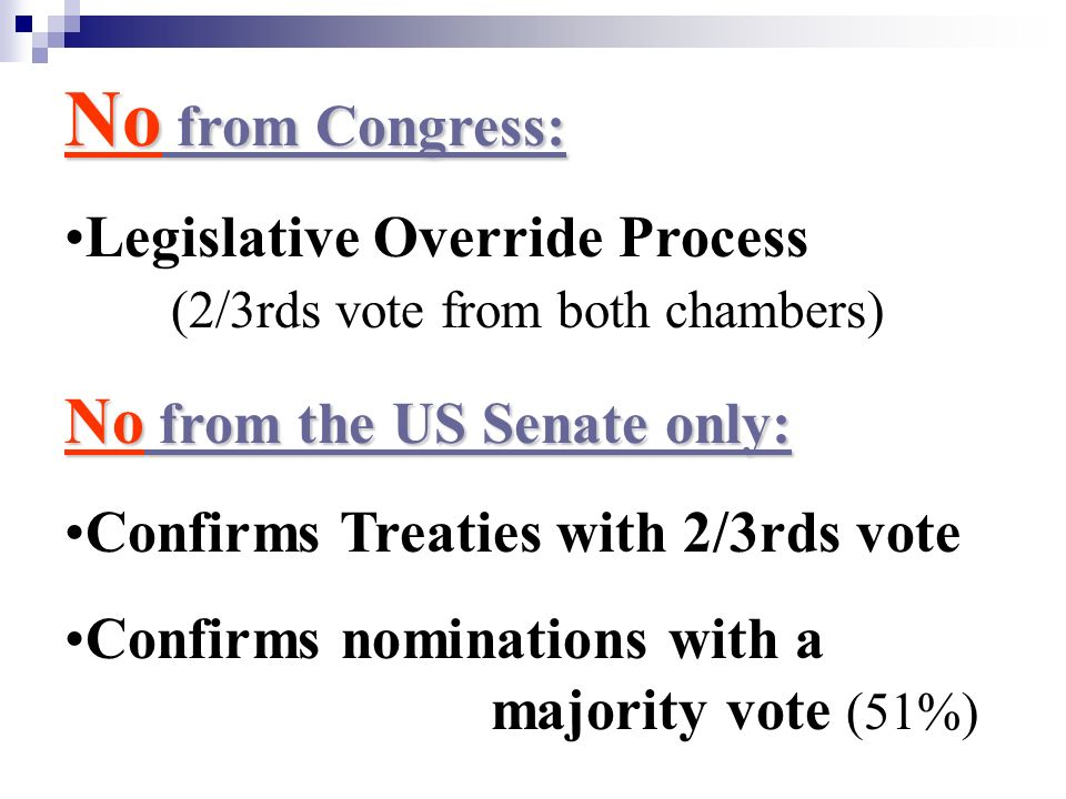 No from Congress: No from the US Senate only: