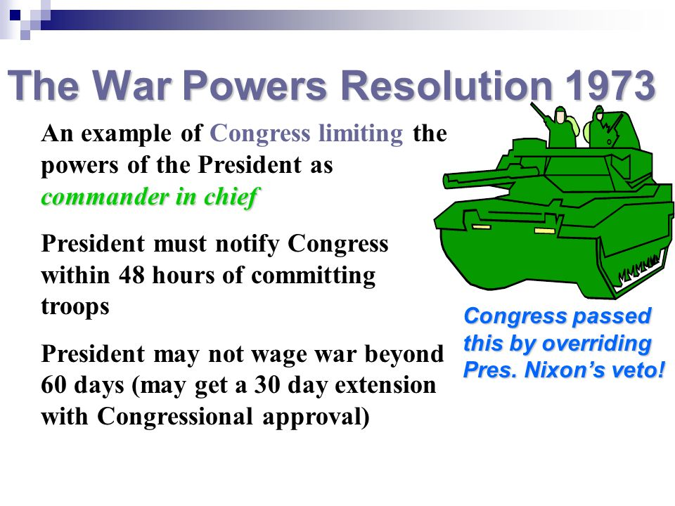 The War Powers Resolution 1973