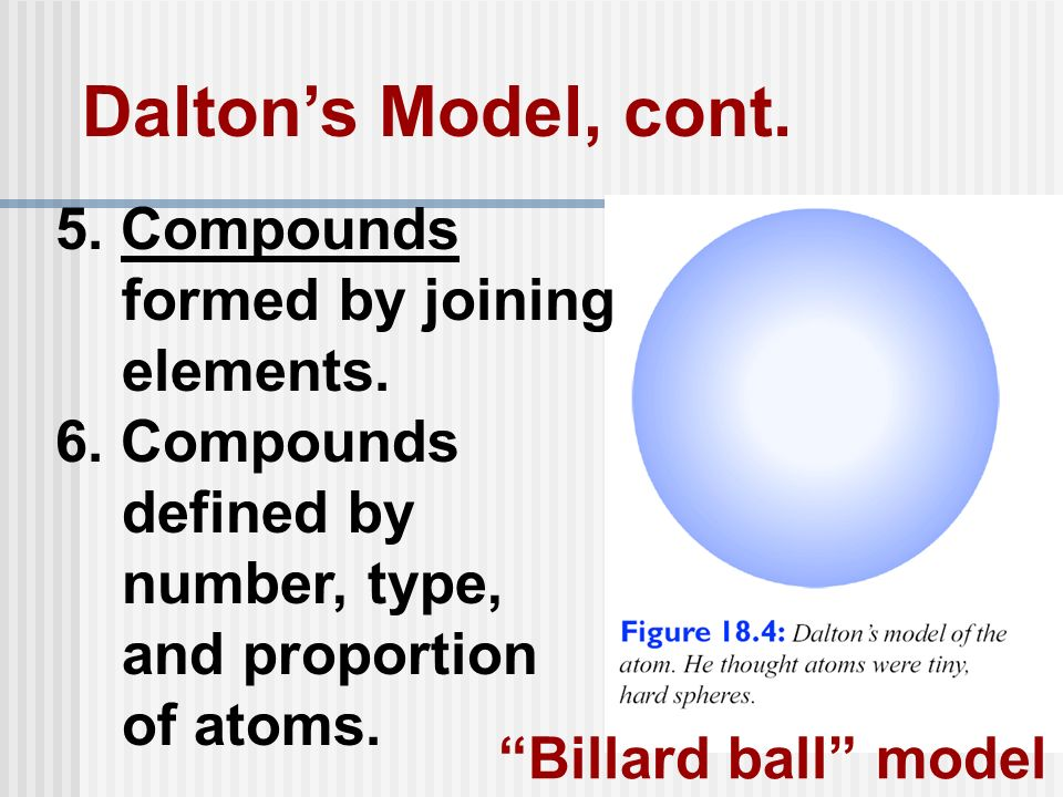 Dalton's Model, cont. 5. Compounds formed by joining elements.
