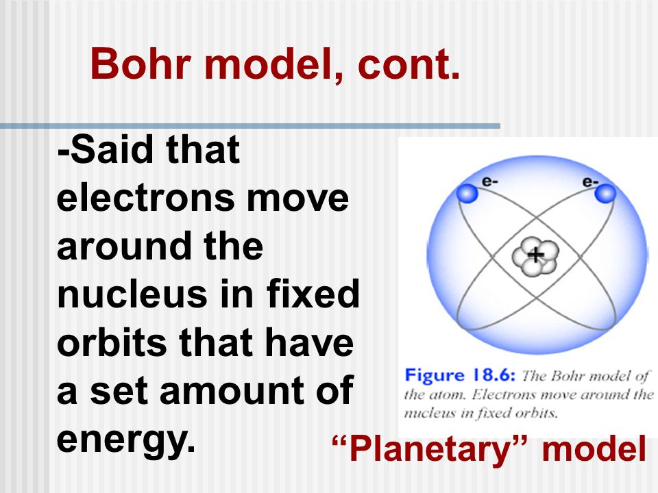 Bohr model, cont. -Said that electrons move around the