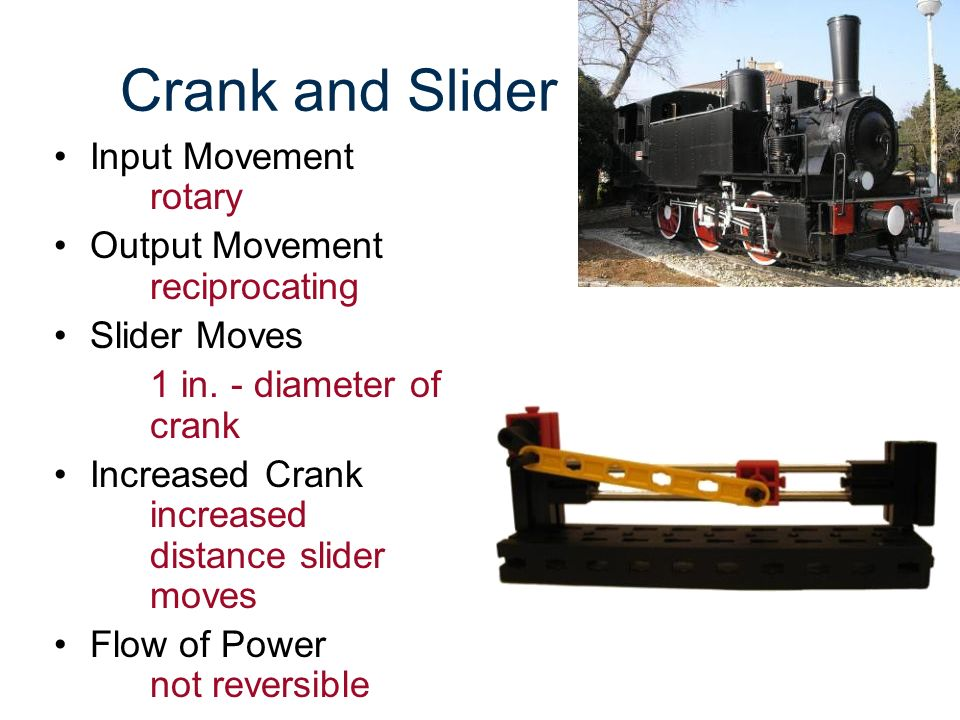 Crank and Slider Input Movement rotary Output Movement reciprocating