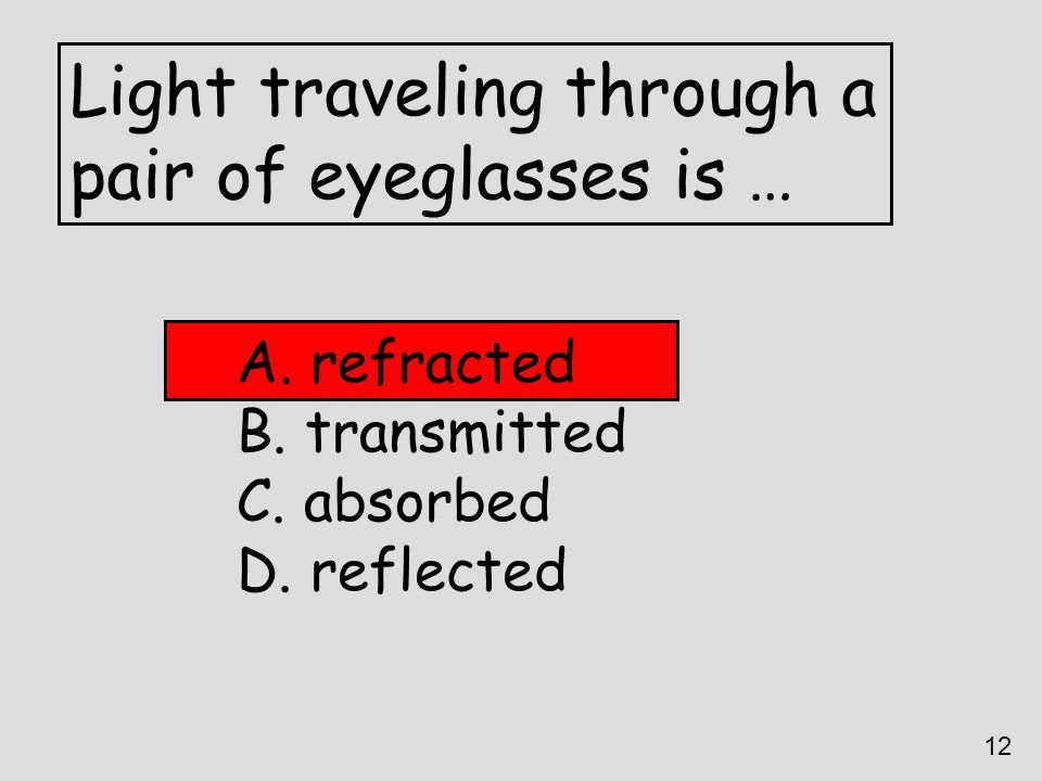 Light traveling through a pair of eyeglasses is …