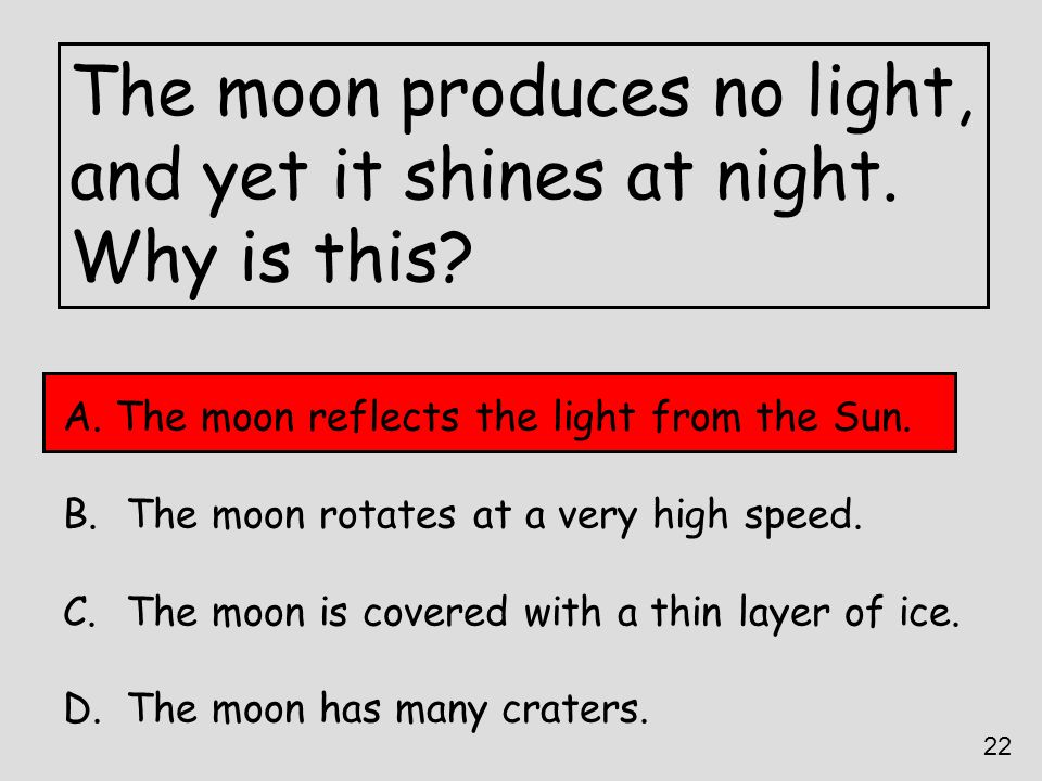 The moon produces no light, and yet it shines at night. Why is this