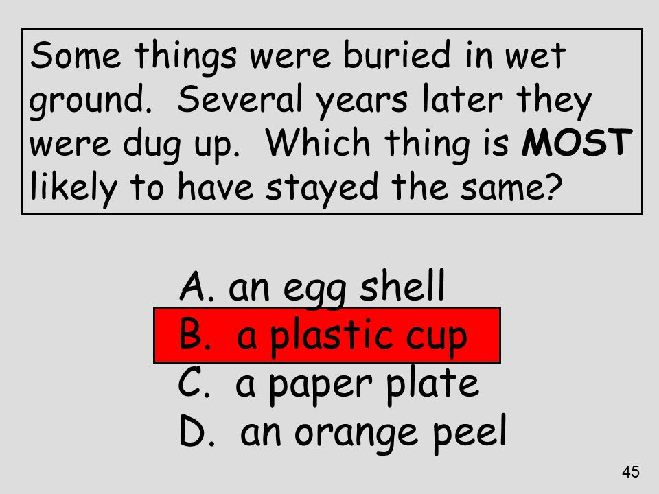 an egg shell a plastic cup a paper plate an orange peel
