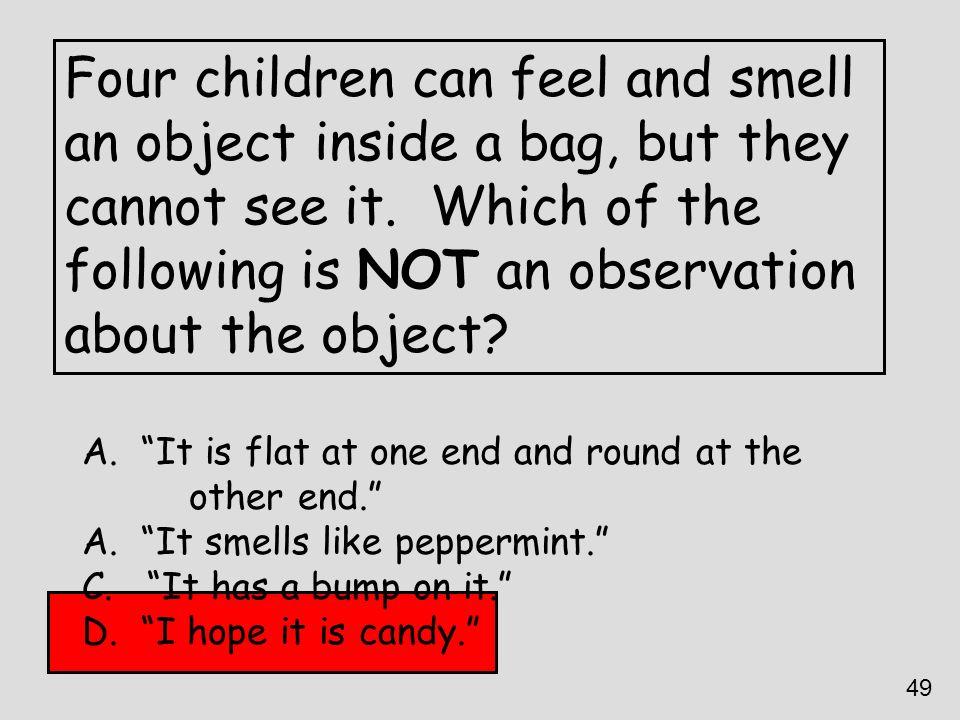 Four children can feel and smell an object inside a bag, but they