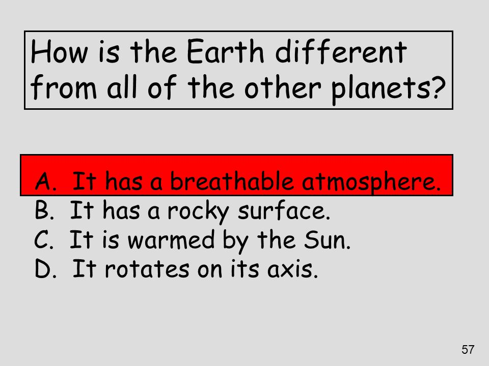How is the Earth different from all of the other planets