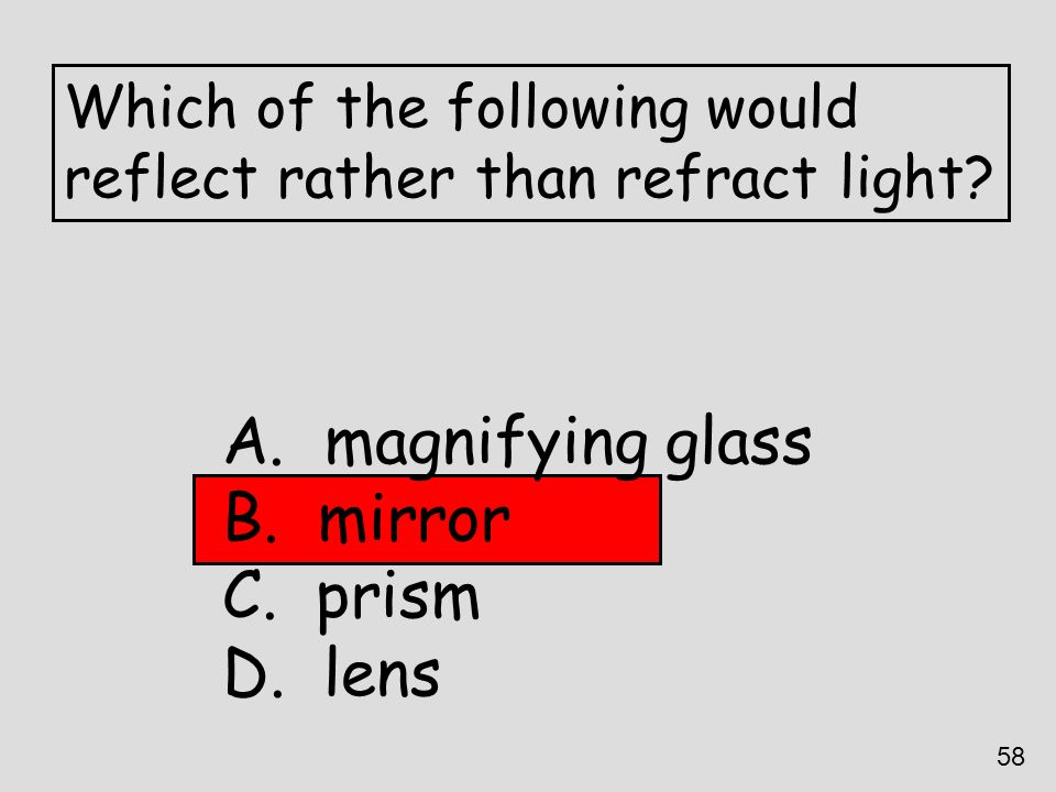 magnifying glass mirror prism lens Which of the following would