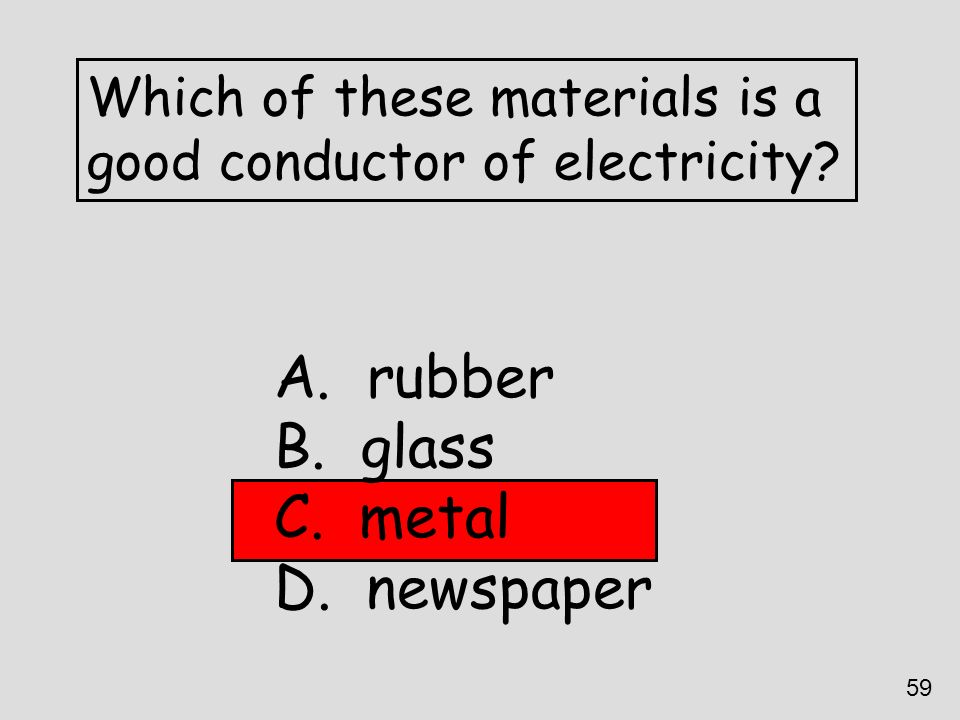 rubber glass metal newspaper Which of these materials is a