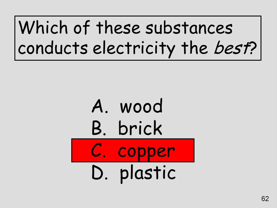 wood brick copper plastic Which of these substances