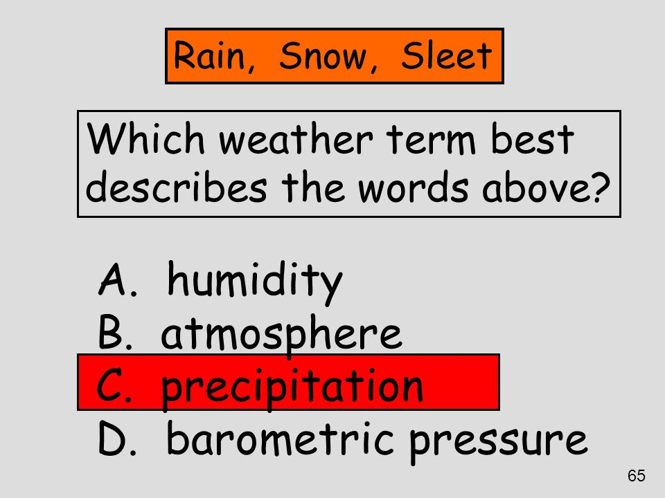 humidity atmosphere precipitation barometric pressure