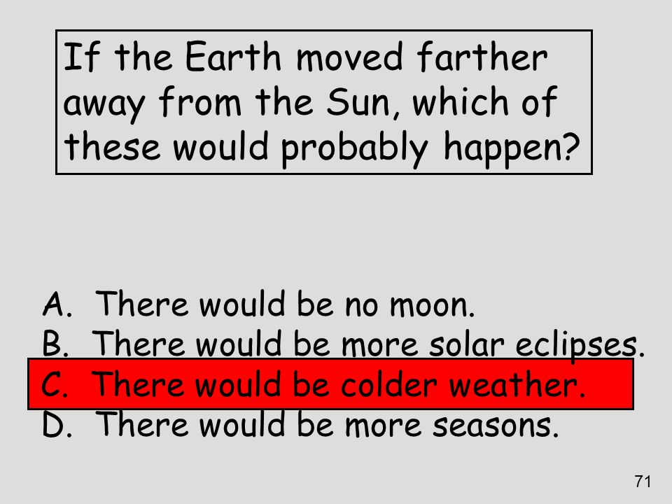 If the Earth moved farther away from the Sun, which of