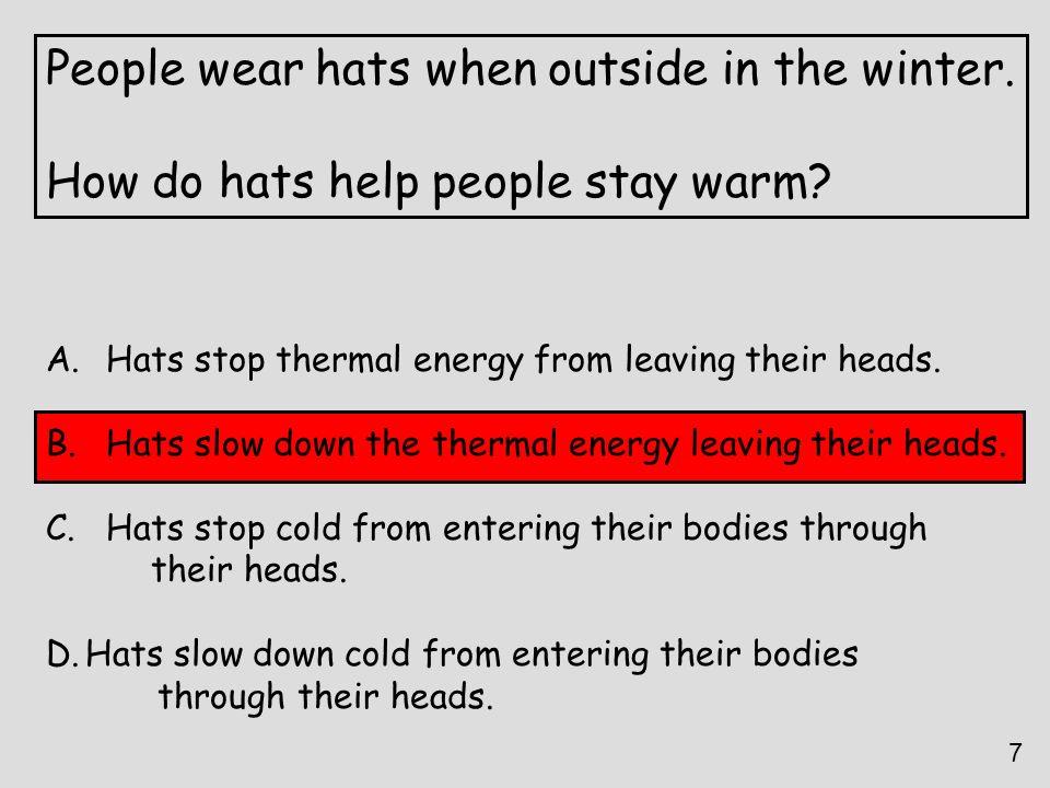 People wear hats when outside in the winter.