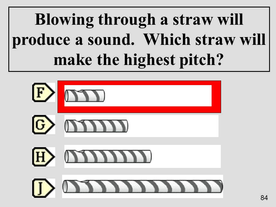 Blowing through a straw will produce a sound. Which straw will