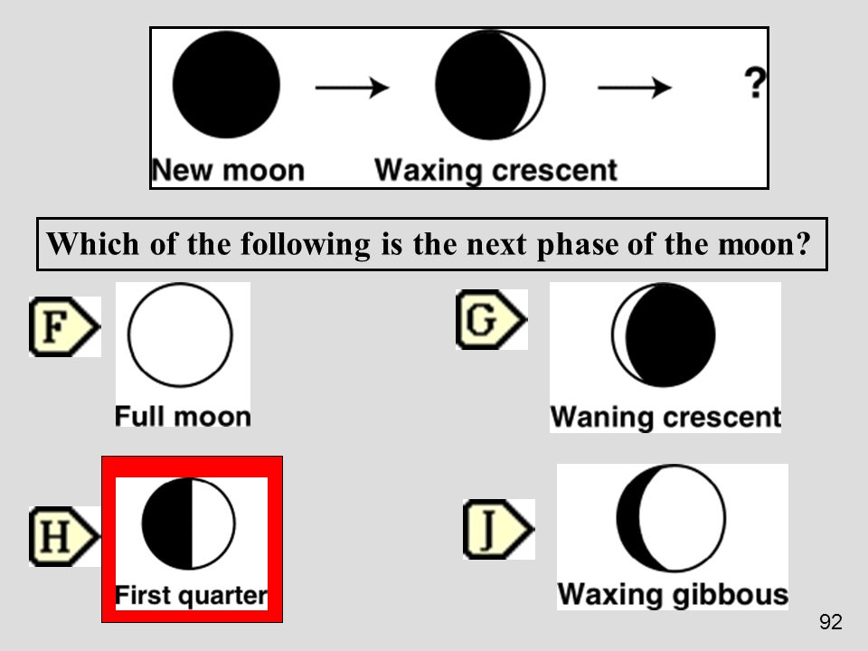 Which of the following is the next phase of the moon