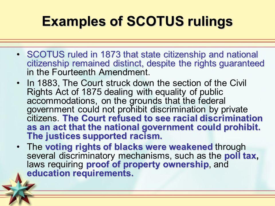 Examples of SCOTUS rulings