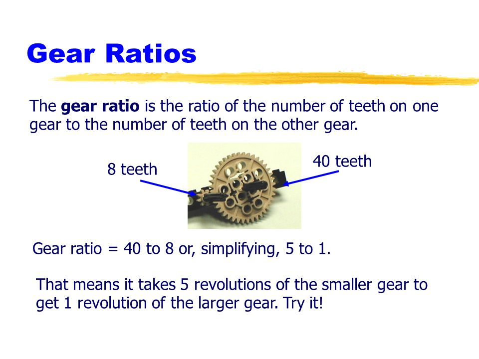 Gear Ratios The gear ratio is the ratio of the number of teeth on one gear to the number of teeth on the other gear.
