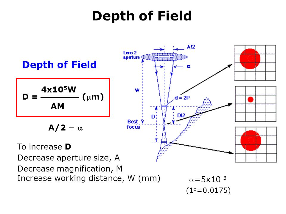 relationship between depth of focus and magnification a microscope