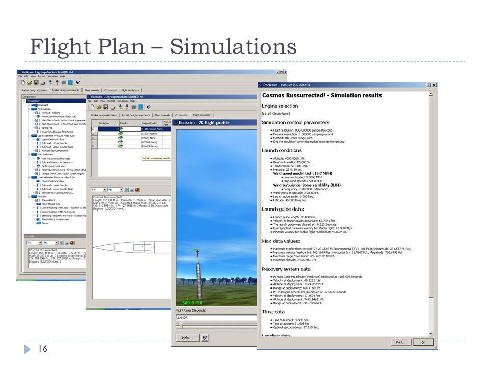 Flight Plan – Simulations