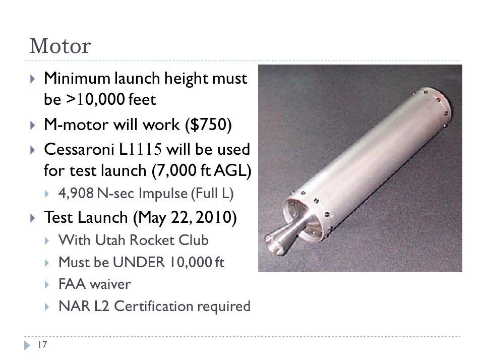 Motor Minimum launch height must be >10,000 feet