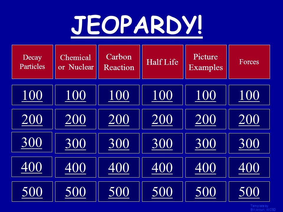 JEOPARDY! Decay Particles. Chemical or Nuclear. Carbon Reaction. Half Life. Picture Examples. Forces.