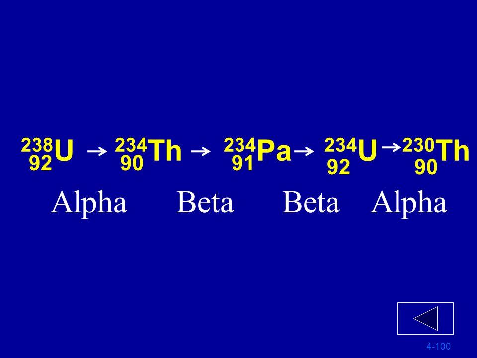 238U 234Th 234Pa 234U 230Th 92 90 91 92 90 Alpha Beta Beta Alpha 4-100