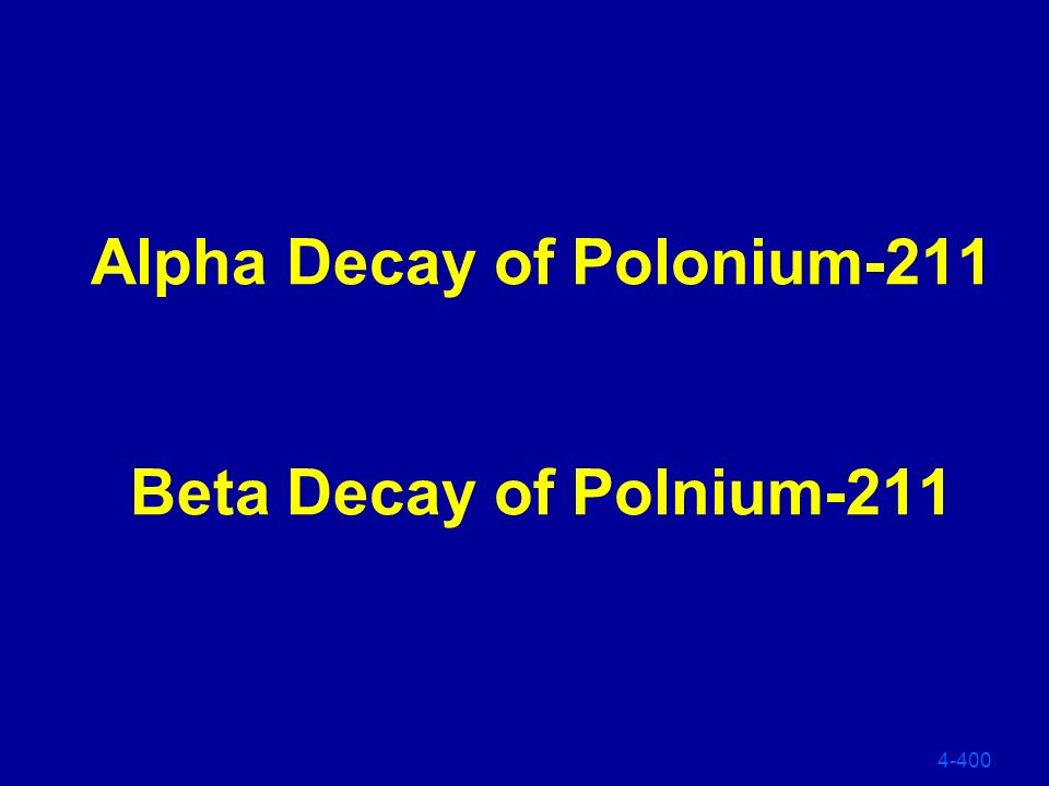 Alpha Decay of Polonium-211 Beta Decay of Polnium-211