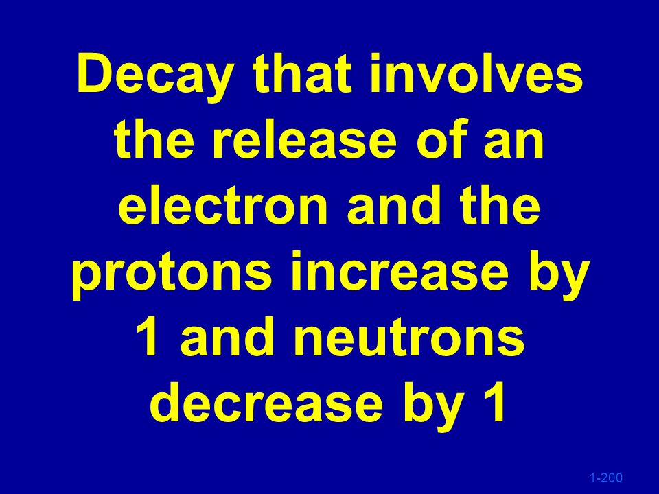 Decay that involves the release of an electron and the protons increase by 1 and neutrons decrease by 1