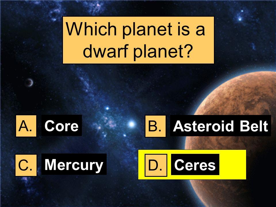 Which planet is a dwarf planet A. Core B. Asteroid Belt C. Mercury D.