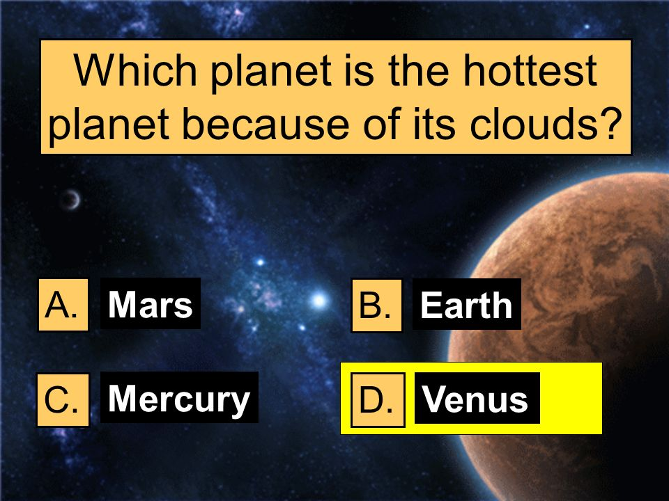 Which planet is the hottest planet because of its clouds