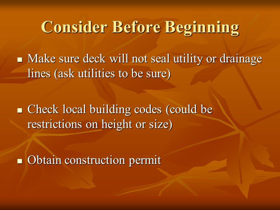 Consider Before Beginning