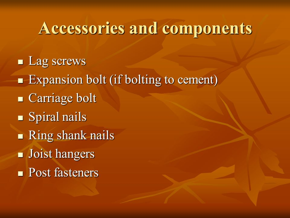 Accessories and components