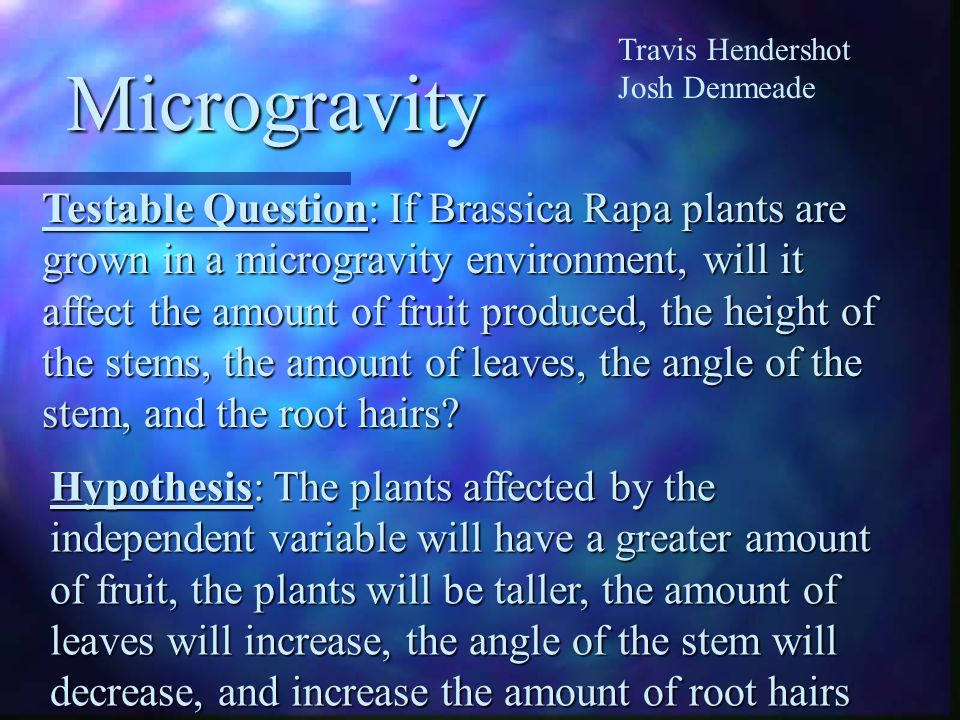 Travis Hendershot Josh Denmeade. Microgravity.