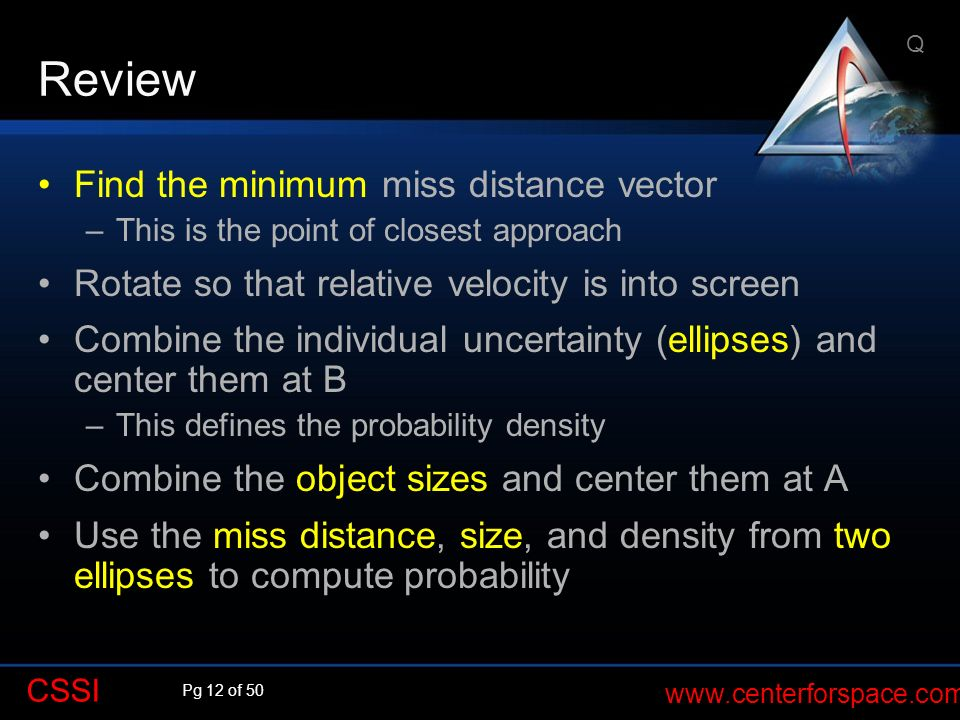Review Find the minimum miss distance vector